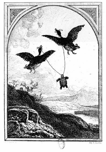 Gravura de A. Delierre para a fábula A tartaruga e os dois patos, de La Fontaine, inspirada na tradição hindu